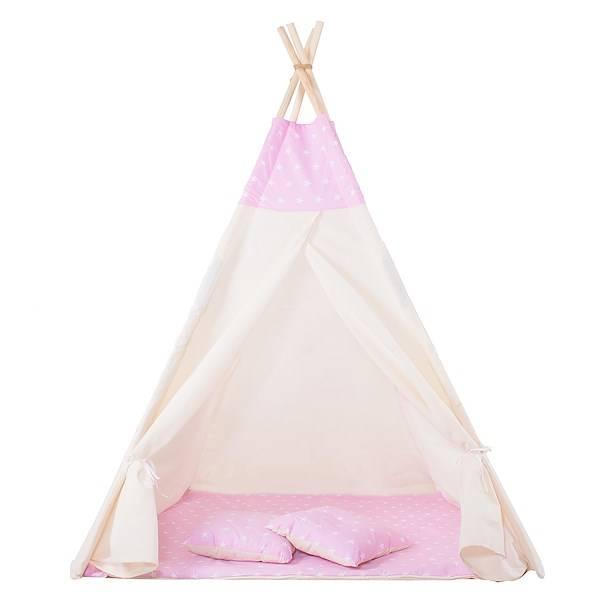 Namiot dla dzieci Tipi różowy gwiazdki